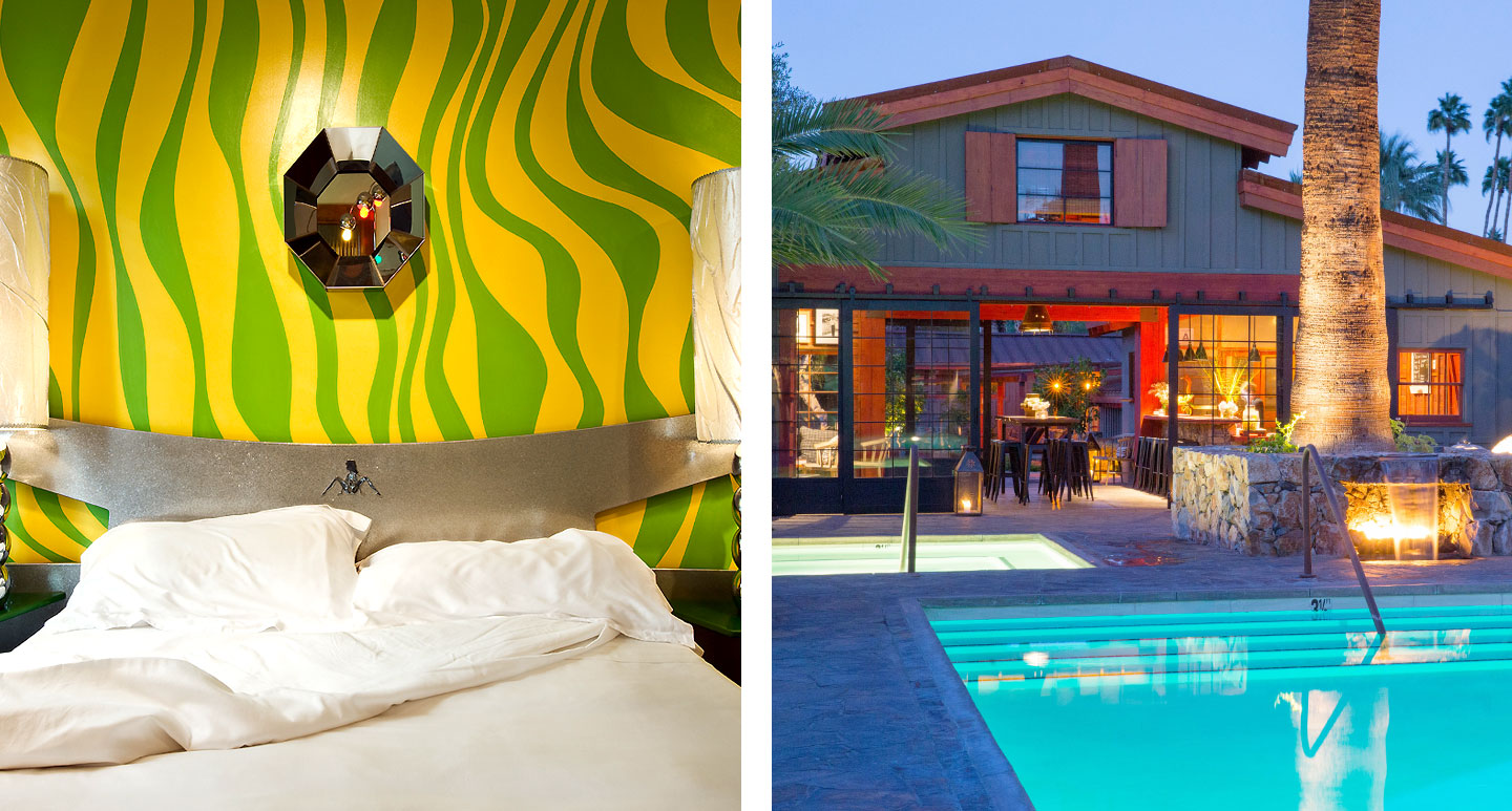 Pelican - budget boutique hotel in Miami and Sparrows Lodge - boutique hotel in Palm Springs